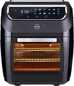iCucina Air Fryer |10 Qt Actual Capacity 1700W Power Frier| Non-Stick Basket Cooker With Additional Accessories|Oil Free 360 Rotating Mesh Basket Chicken Rotisserie|Drip Tray For Easy Clean and Dehydrator Oven, 6-in-1 Countertop Oven, Digital LED Display, 9 Accessories Mini Oven