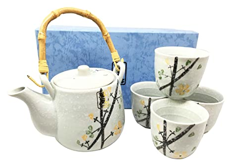 Japanese Design Yellow Cherry Blossom Luxury Ceramic Tea Pot And Cups Set  Serves 4 Guests Beautifully
