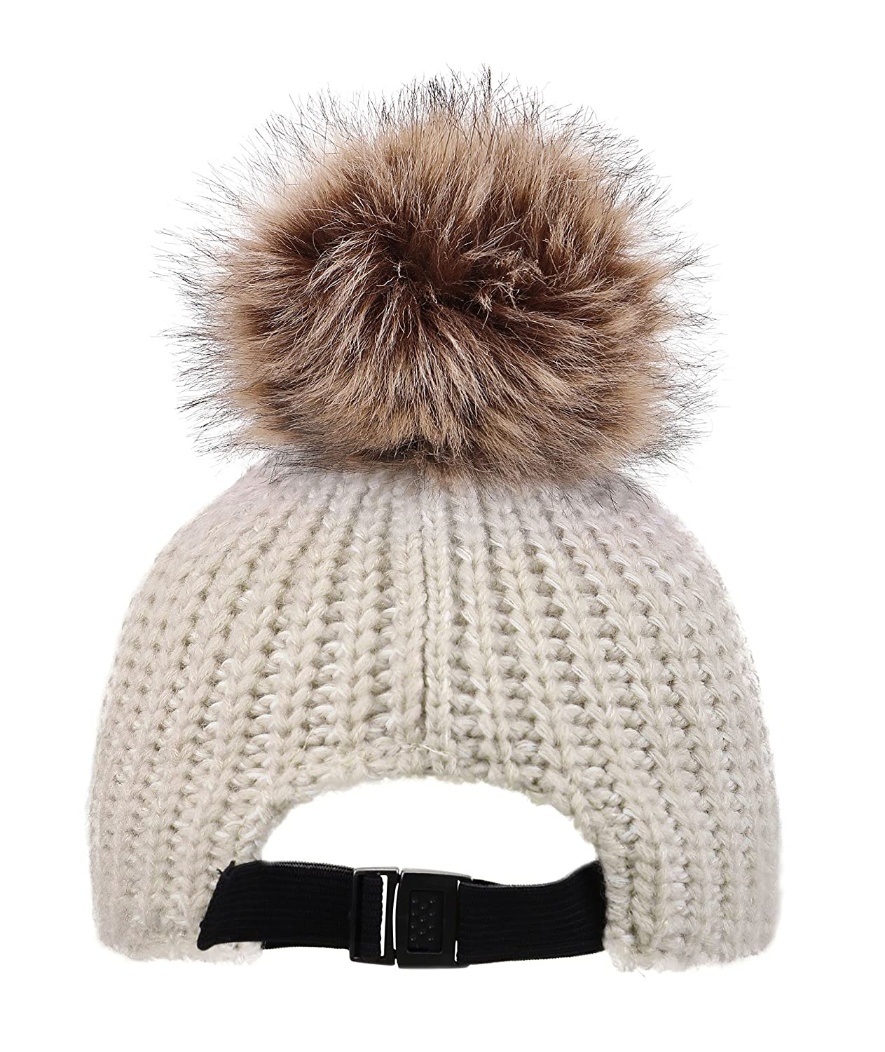 a8942f9ec2c Amazon.com  Kids Girls Winter Warm Thick Knitted Ski Pompom Beanie Hat Beige   Clothing