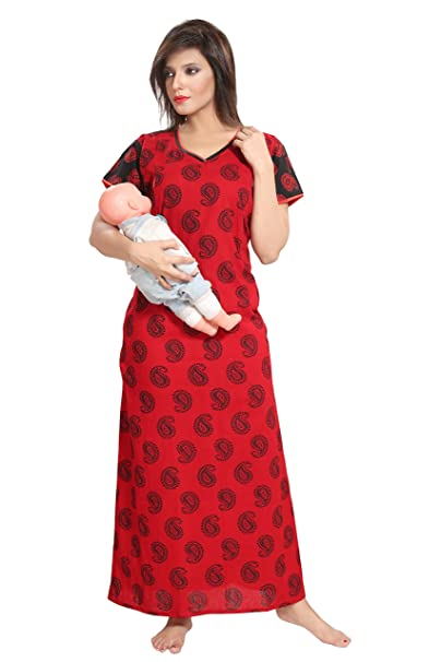 bf97595a9c TUCUTE Women s Beautiful Botty Print Cotton Feeding Maternity Nursing  Nighty Nightwear with Pocket