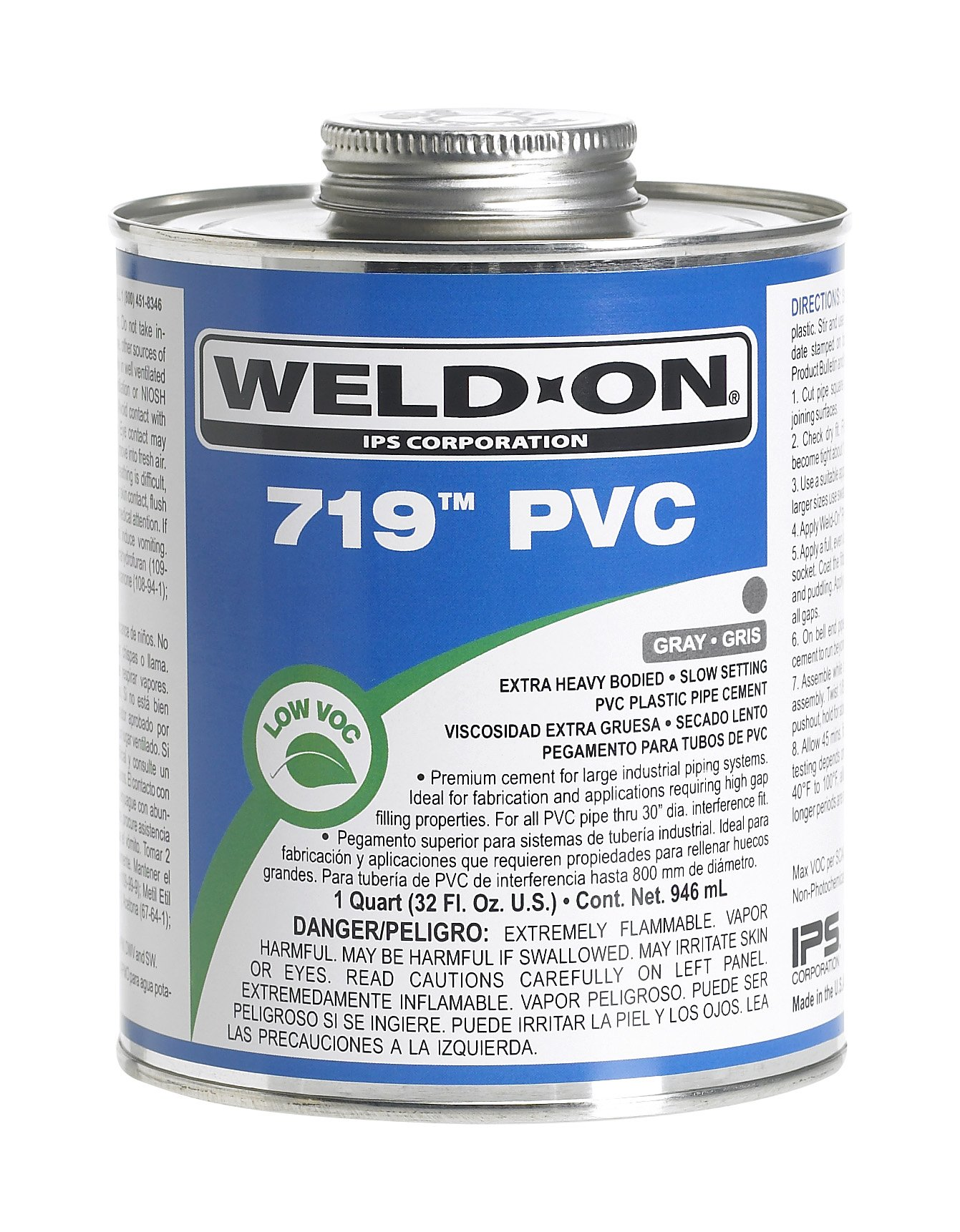 Weld-On 13078 Gray 719 Extra Heavy-Bodied PVC Professional Industrial-Grade Cement, Slow-Setting, Low-VOC, 1 gallon Wide-mouth Can
