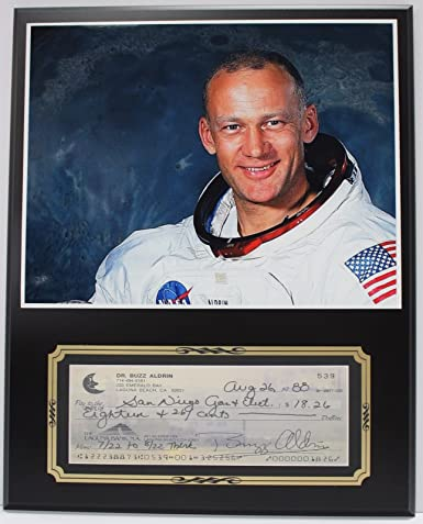 Buzz Aldrin Astronaut Reproduction Signed Limited Edition Check Display at Amazons Entertainment Collectibles Store