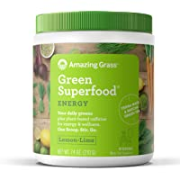 Amazing Grass Energy Green Superfood Organic Powder with Wheat Grass and Greens, Natural Caffeine with Yerba Mate and Matcha Green Tea, Flavor: Lemon Lime, 30 Servings