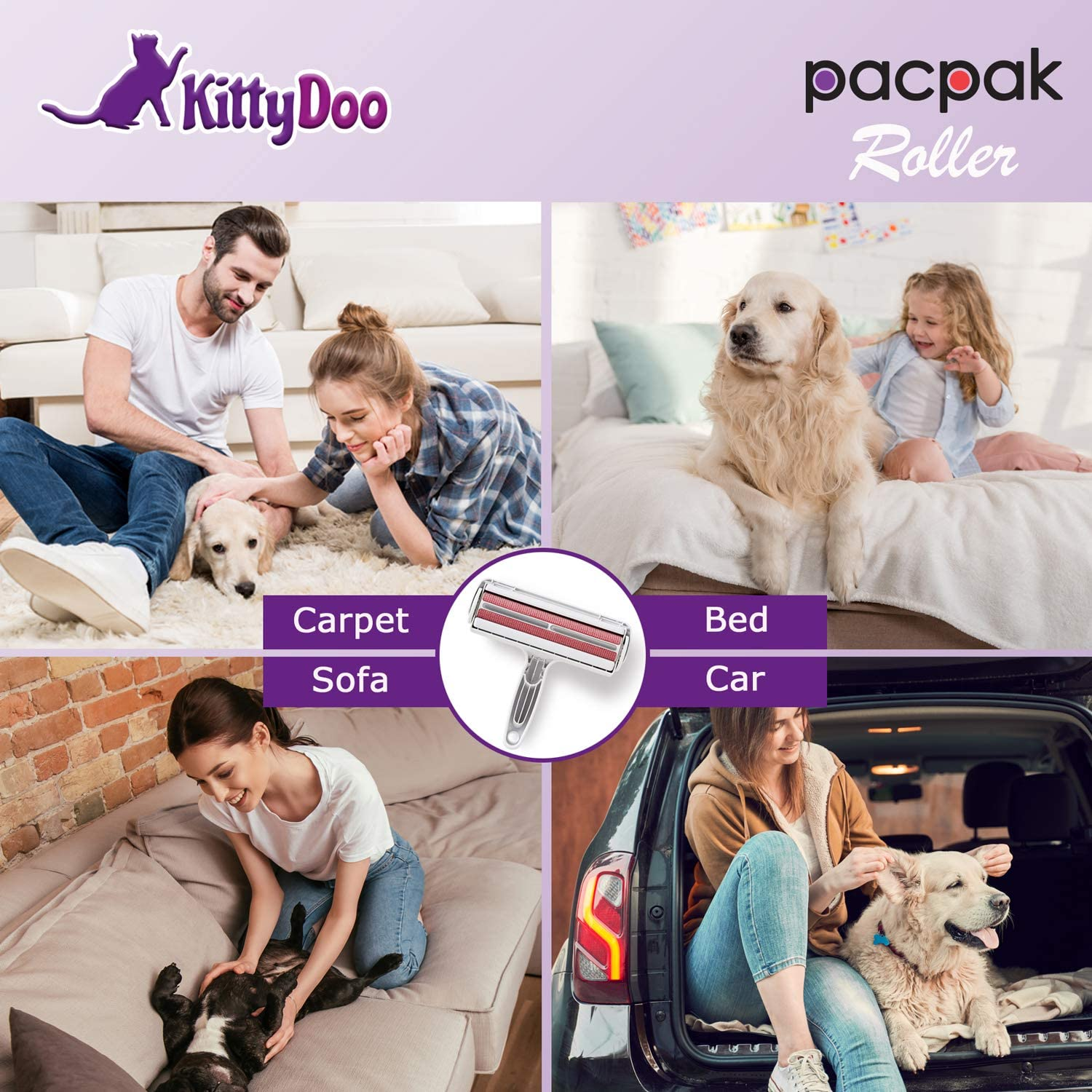Original Cat and Dog Hair Remover Formerly PakuPaku KittyDoo PacPak Pet Hair Remover Suitable as an Upholstery Brush and Carpet Hair Remover Roller Reusable Lint Roller for Pet Fur