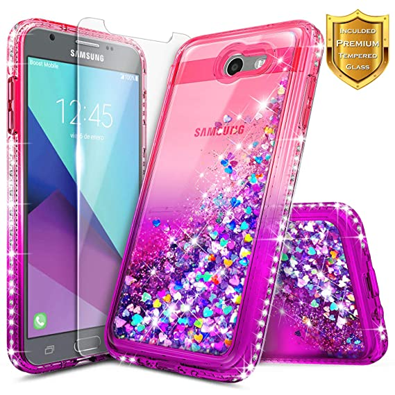 new styles 4a9cd 3d352 Galaxy J7 Prime Case, J7 Sky Pro /J7 V /J7 Perx/Galaxy Halo w/[Tempered  Glass Screen Protector], NageBee Glitter Liquid Quicksand Sparkle  Shockproof ...