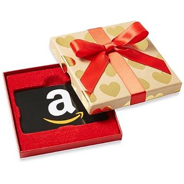 Amazon.com Gift Card in Gold Hearts Box