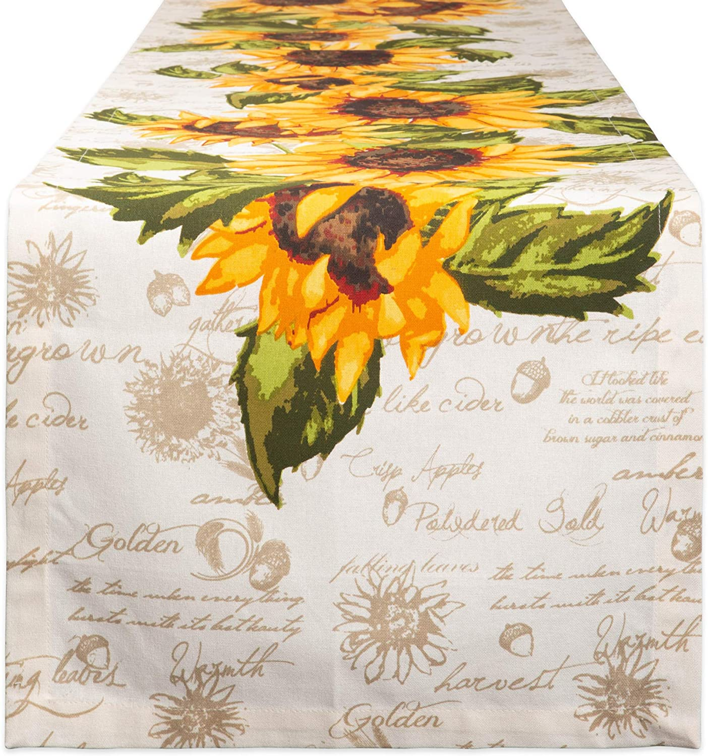 DII Cotton Table Runner for for Dinner Parties, Weddings & Everyday Use, 14x72, Rustic Sunflowers
