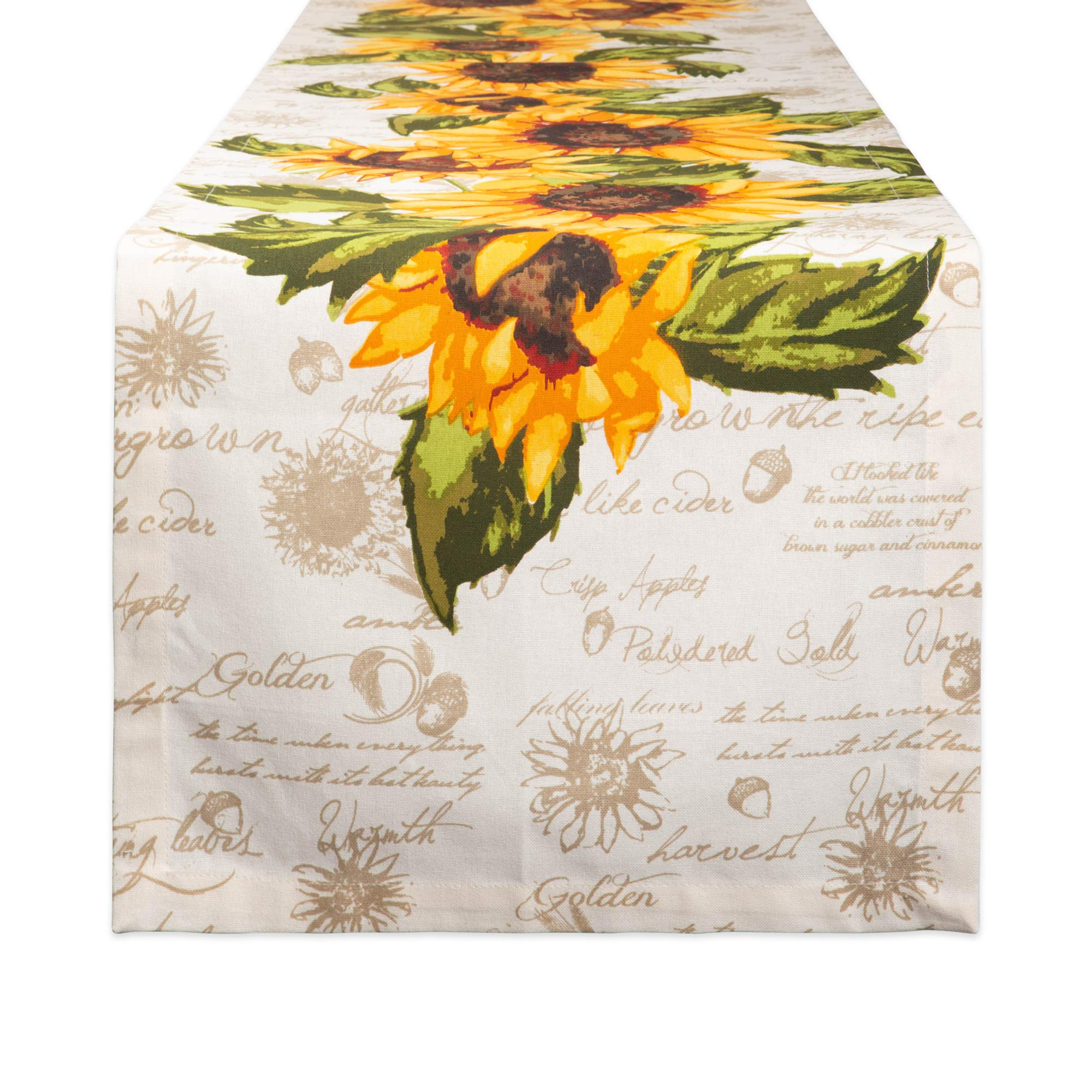 DII Cotton Table Runner for for Dinner Parties, Weddings & Everyday Use, 14x72, Rustic Sunflowers by DII
