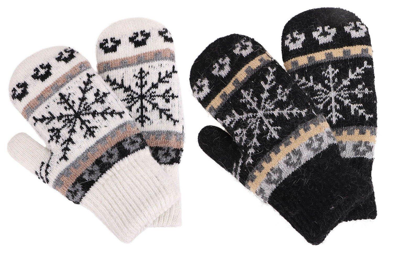 Fleece Lined Mittens Women's Winter Knit Sherpa Lined Gloves,2 Set,Black/White