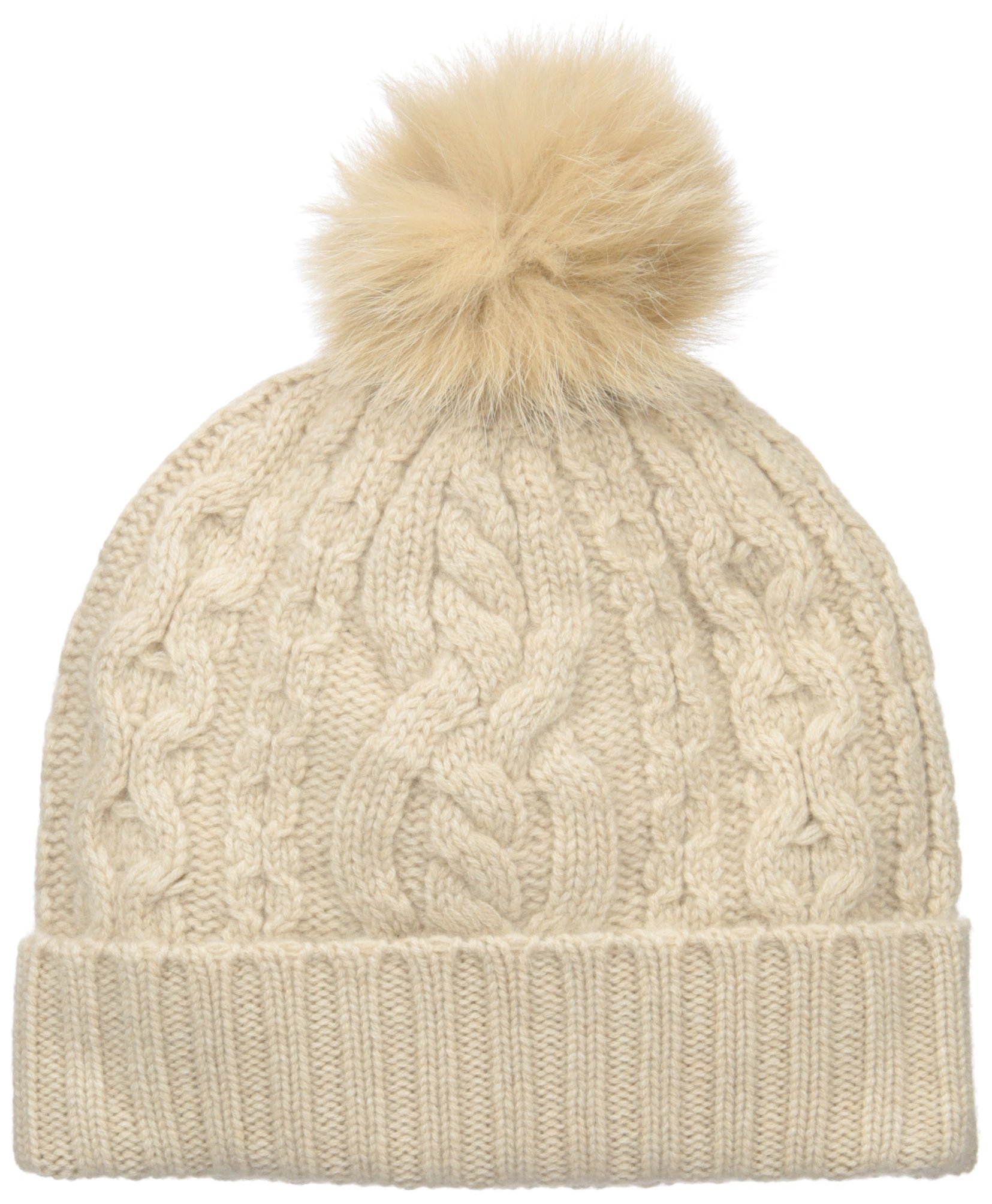 Sofia Cashmere Women's 100% Cashmere Cable Texture Hat With Fox Fur Pom, Oatmeal, One