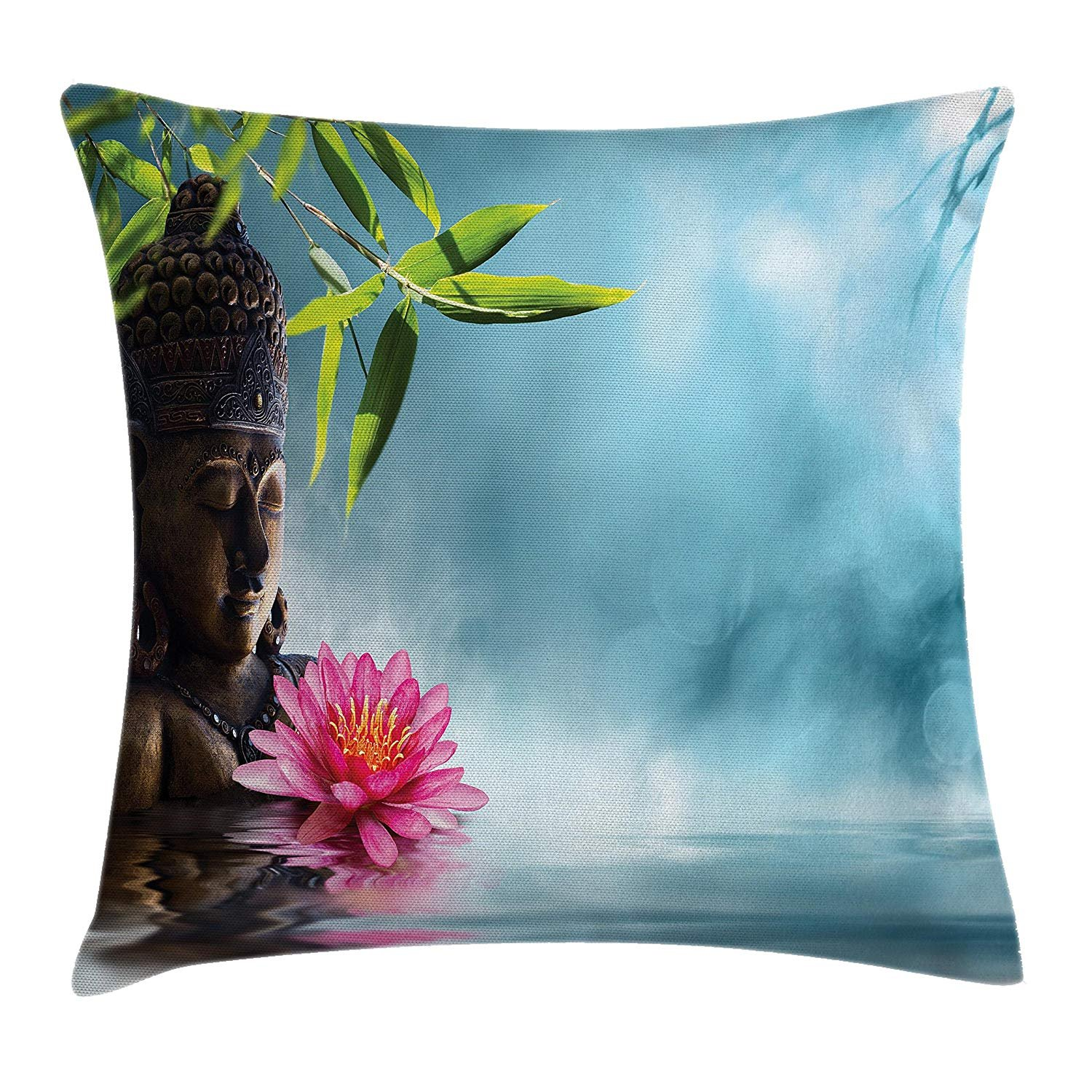 Zen Throw Pillow Cushion Cover, Zen Waterlillies Spa Theme Meditation Nature Feng Shui Natural Calm Water, Decorative Square Accent Pillow Case, 18 X 18 Inches, Light Blue Green Pink