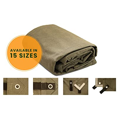 """Canvas Tarp Heavy Duty Waterproof 18 oz. Mold & UV Resistant with Rustproof Grommets, Reinforced Edges, Waxed tarp for Industrial Commercial use (Cut Size: 8'x10', Finished Size: 7'6""""x9'6"""", Olive)"""