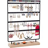 Earrings Organizer 5-Layer 100 Holes Ear Stud Holder Earring Display Stand Wooden Base Jewelry Organizer for Hanging earrings