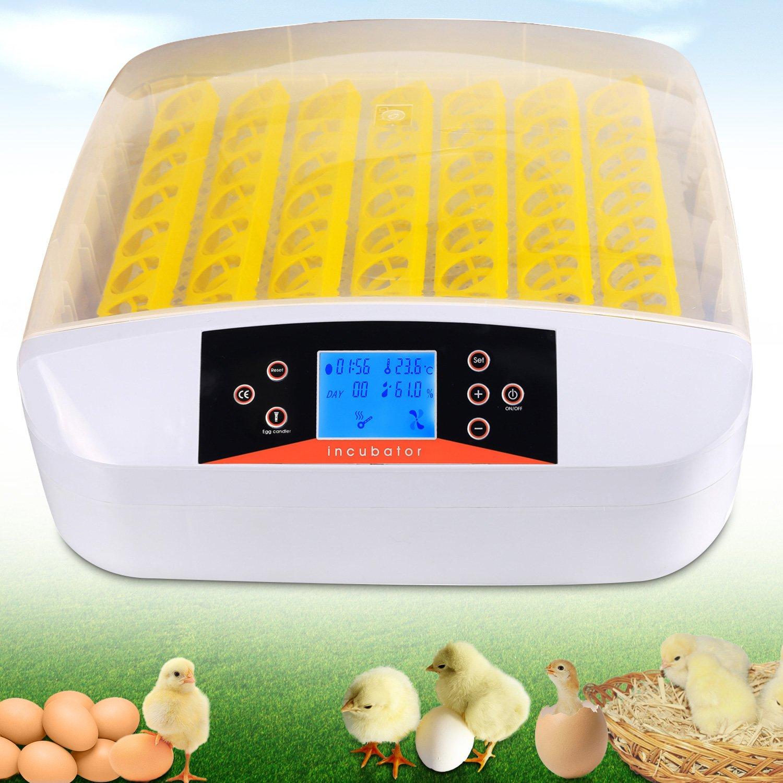 Homdox Automatic 48 Digital Clear Egg Incubator Hatcher Egg Turning Temperature Control 80W US Plug Yellow (56 egg incubator)