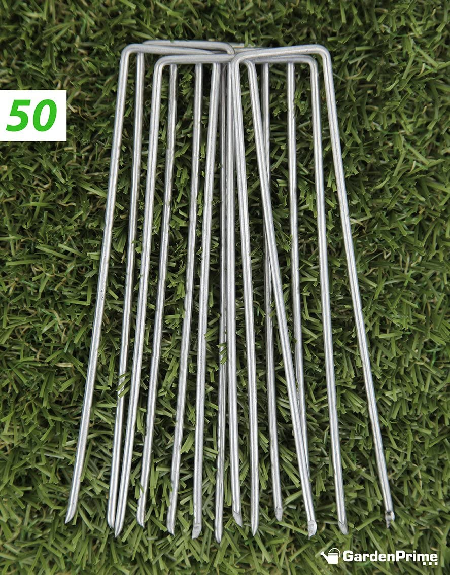 chicken wire membrane netting polythene sheeting GardenPrime 50x Premium U-shaped Garden Securing Pegs for securing weed fabric groundsheets fleece landscape fabrics 50, 4//100mm, Steel