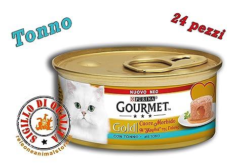 Gourmet Gold - Corazón suave con atún - 24 latas de comida para gatos de 85