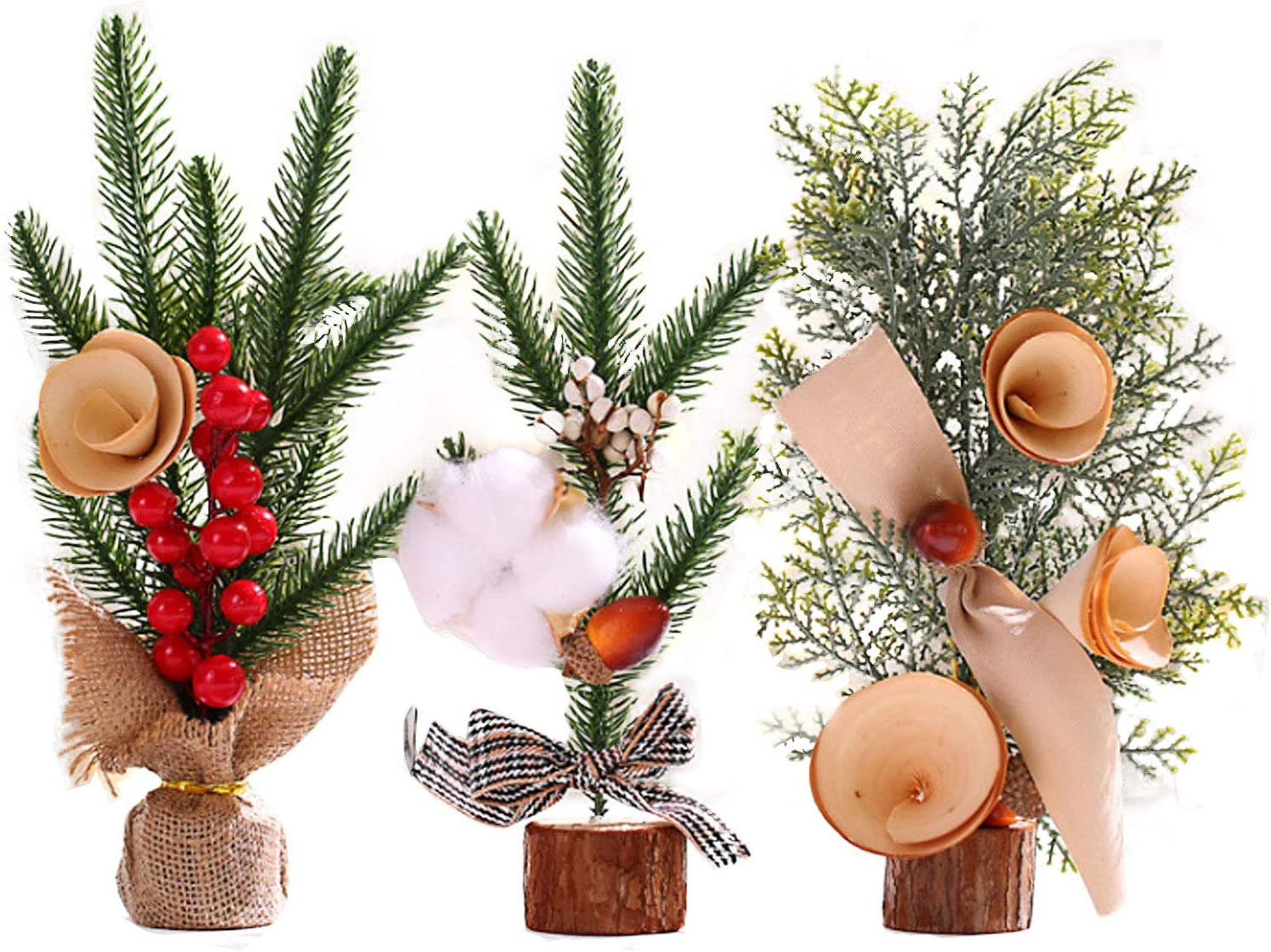 3 Pieces 10inch/25cm Tall Mini Artificial Christmas Tree with Ornaments Christmas Pine Tree for Your Home or Office for Christmas decor, table, desk, window decoration. (3pack-10inch/25cm Tall)