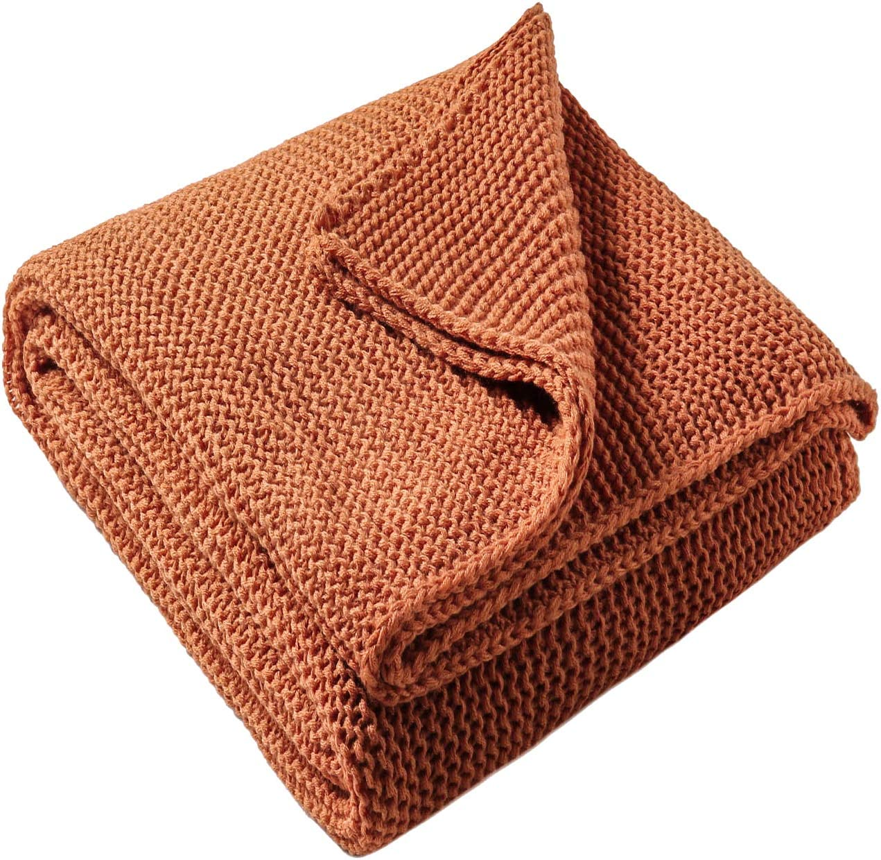 "TREELY Knitted Throw Blanket Rust Orange Knit Throw Blanket for Couch Sofa Beach Chair, 50"" x 60"""