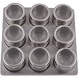 Orya Stainless Steel Magnetic Spice Rack 9 Jars, 24.13 x 6.35 x 24.13 Cms (L x B x H)