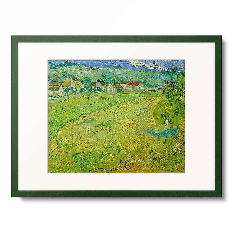 フィンセントファンゴッホ Vincent Willem van Gogh 「View of Les Vessenots near Auvers」 額装アート作品 B07PDCT4PS 12.木製額 13mm(緑) M(額内寸 379mm×288mm) M(額内寸 379mm×288mm)|12.木製額 13mm(緑)