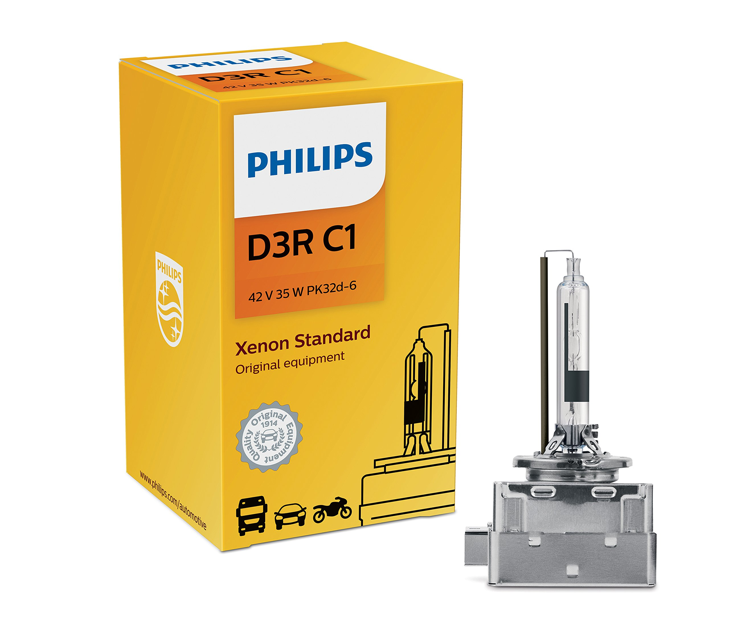 Philips D3R Standard Authentic Xenon HID Headlight Bulb, 1 Pack