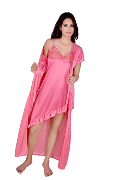 Kanika Women s Satin Nighty with Robe (KRS00026 b81d76260