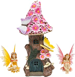 Solar Fairy House Gift Set with Figurines - Pink Flowers, Mushrooms, Butterflies & Magical Fairies - Outdoor Garden, Lawn & Patio Décor with Glow in the Dark LED Lights - Mini Resin Statue & Sculpture