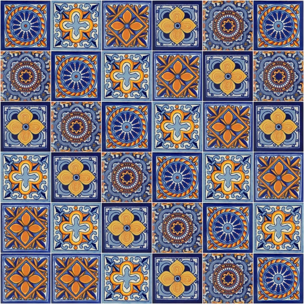 Mexican Tiles Mix Box of 100 Talavera Tiles Hand Painted 5 Colonial Patterns F70