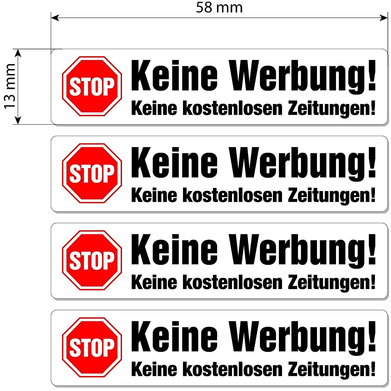 Keine Reklame Schild immi 16 St in Rot Keine Werbung Aufkleber
