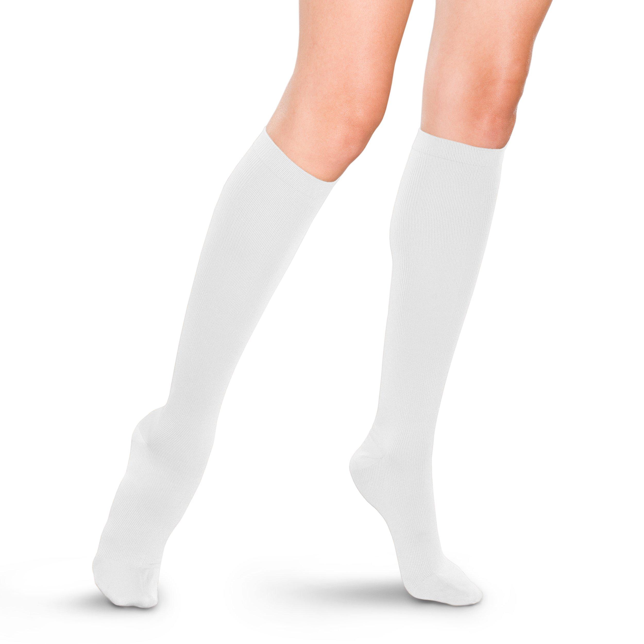 Therafirm Women's Support Trouser Socks - 15-20mmHg Mild Compression Dress Socks (White, Medium)