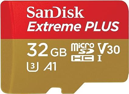 SanDisk Extreme Plus - Tarjeta de Memoria 32 GB microSDHC para Smartphone, tabletas y cámaras MIL + Adaptador SD, Velocidad de Lectura hasta 100 MB/s, Clase 10, U3, V30 y A1: Amazon.es: Informática