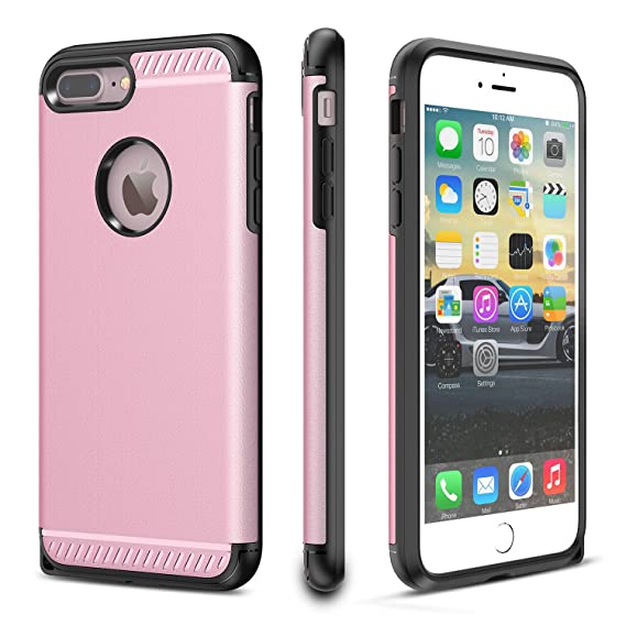 check out d97af b82cb iPhone 8 Plus Case, CHTech iPhone 7 Plus Case Double Layer Shockproof Heavy  Duty Protection Armor Case for Apple 5.iPhone 7 Plus/iPhone 8 Plus [Rose ...