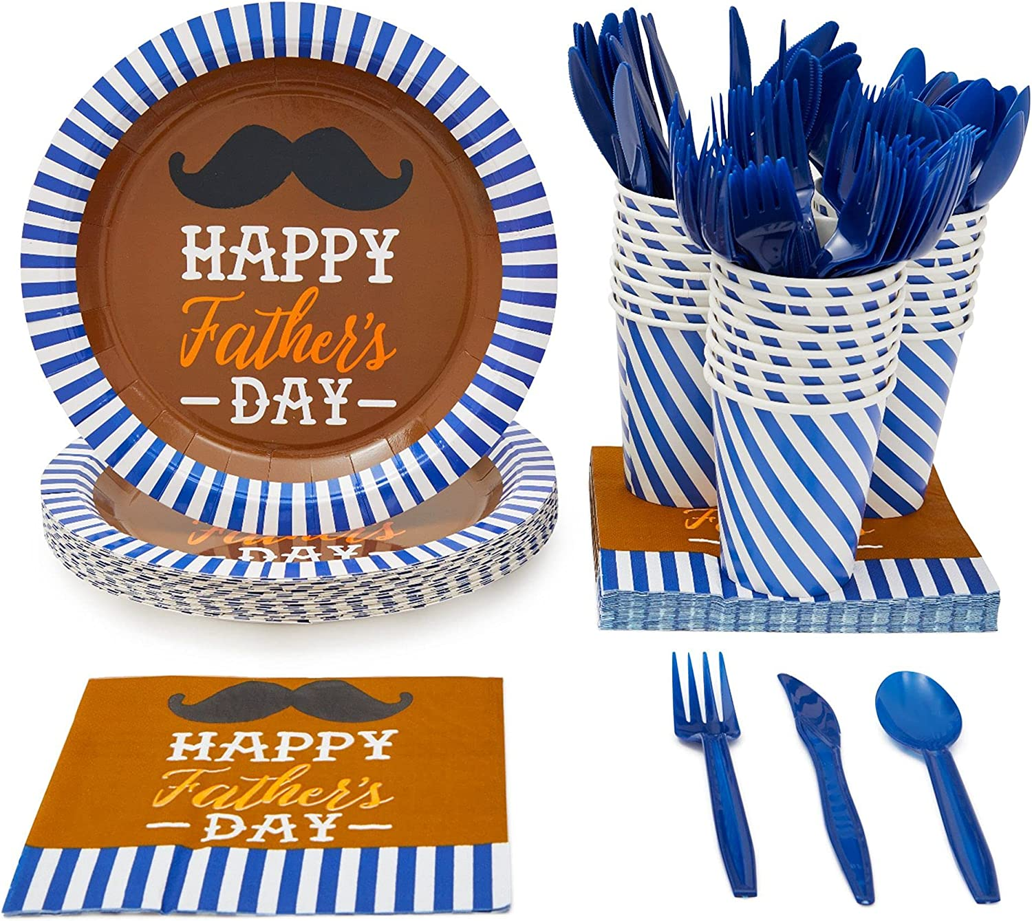 Happy Fathers Day Party Plates, Cutlery, Paper Cups, Napkins (Serves 24, 144 Pieces)