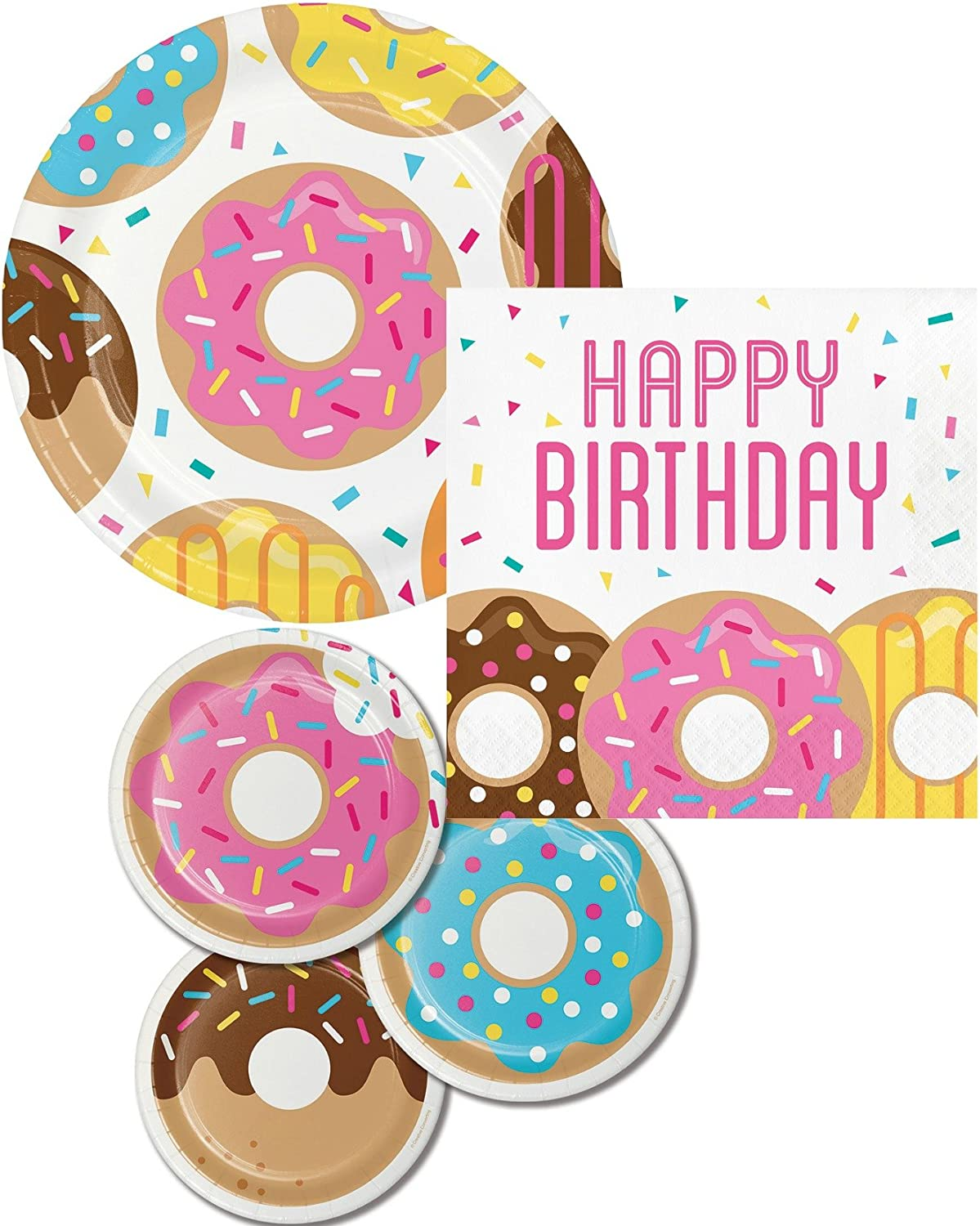 Donut Time 9 Inch Paper Plates 8 Per Pack Birthday Party Decorations