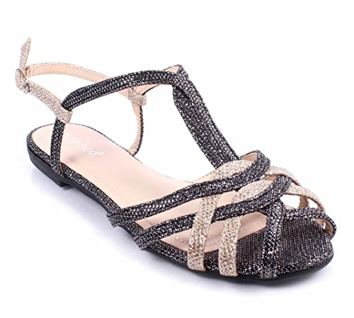 610ffa52741b7 BAMBOO Open Toe Criss Cross Style Side Buckle Strappy Womens Sandals Flats  Without Box (6.5