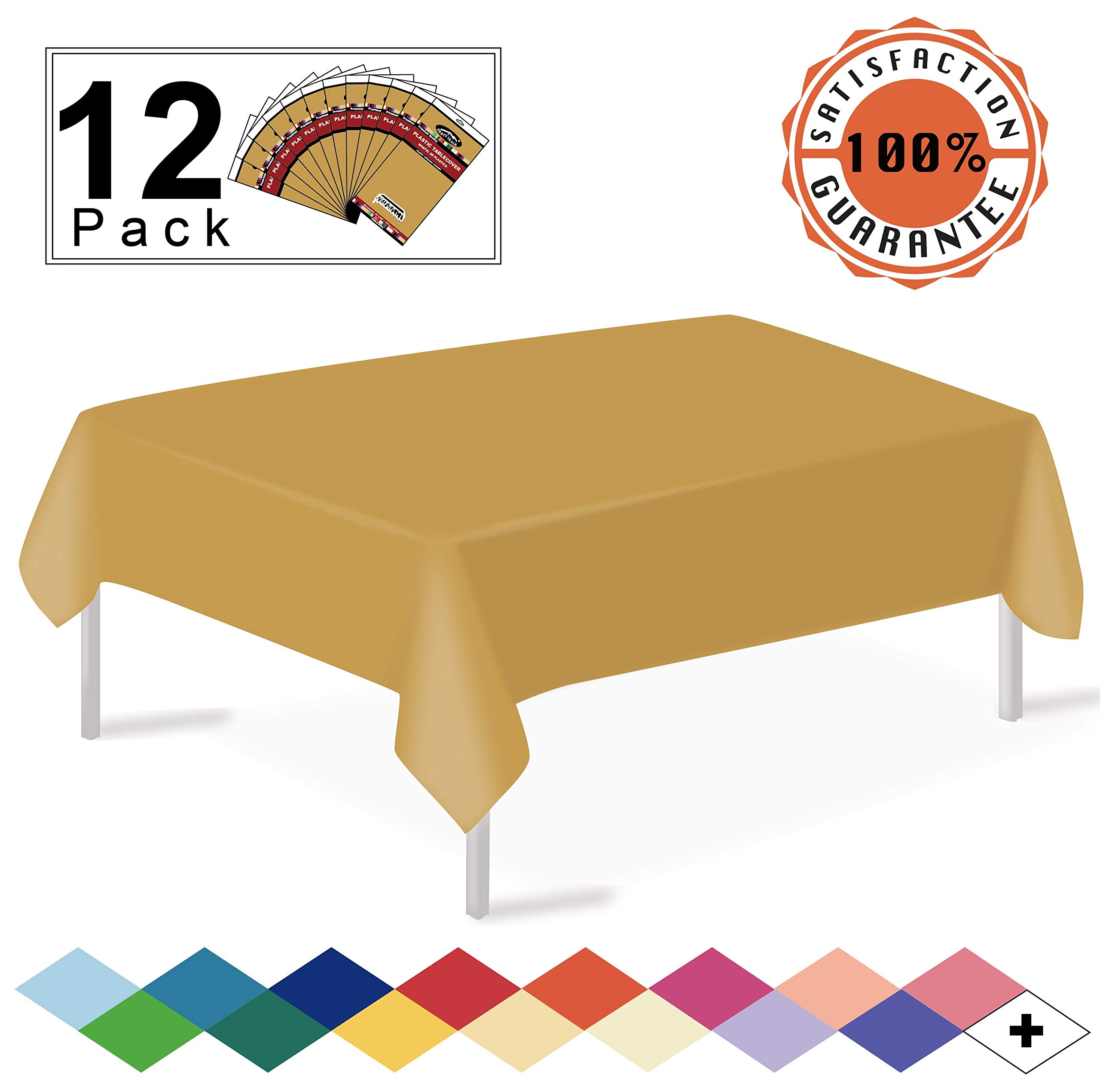 Gold Plastic Tablecloths Disposable Table Covers 12 Pack Premium 54 x 108 Inches Table Cloths for Rectangle Tables up to 8 Feet and for Picnic Birthday Thanksgiving any Events Occasions, PEVA Material by party ulyja