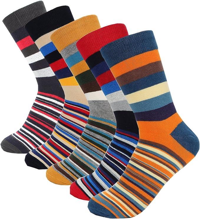 Stynice Mens Socks 5 Pack Cotton Socks Fashion Streetwear Stylish Comfortable Plaid Multicolor Colorful