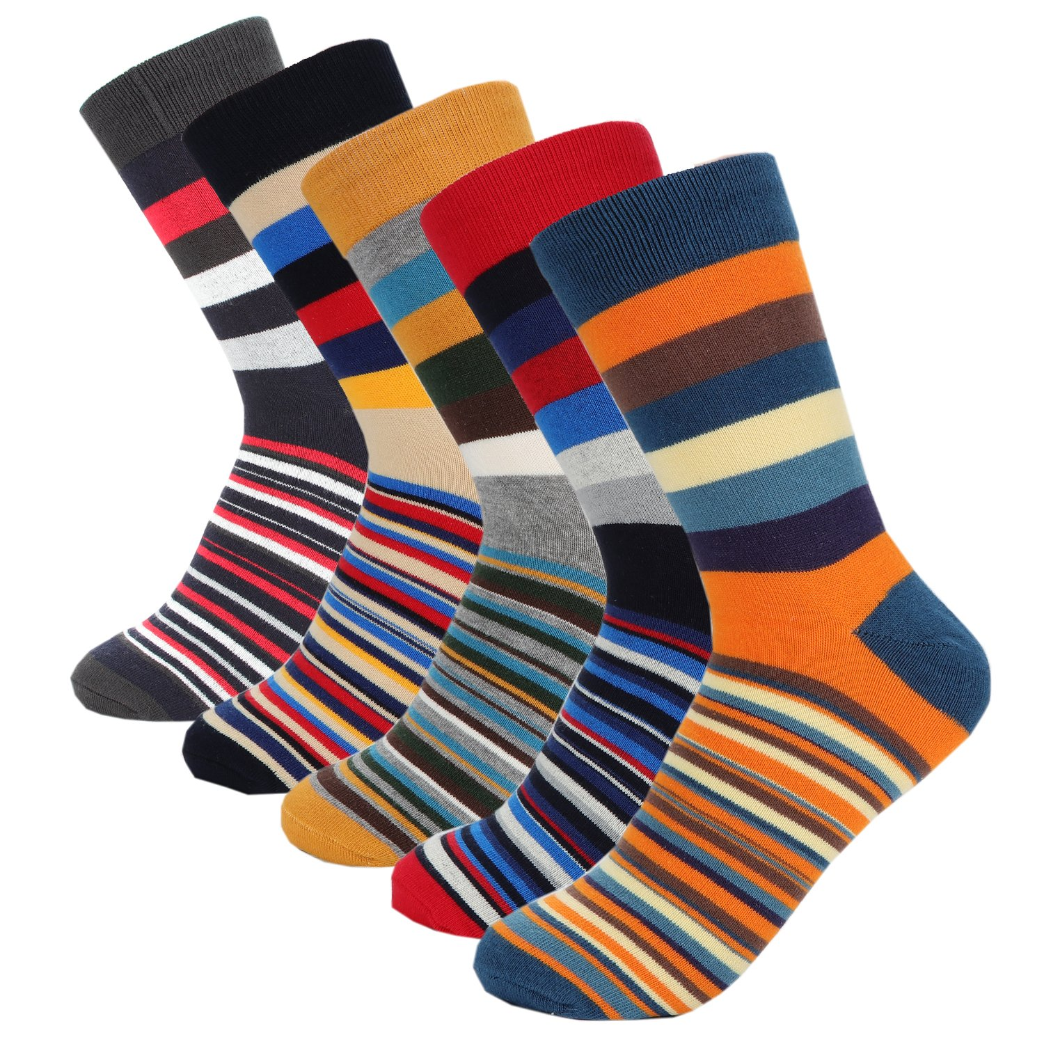 Hoyols Mens Dress Casual Socks Cotton Crew Socks 5 Color Pack (L Size)