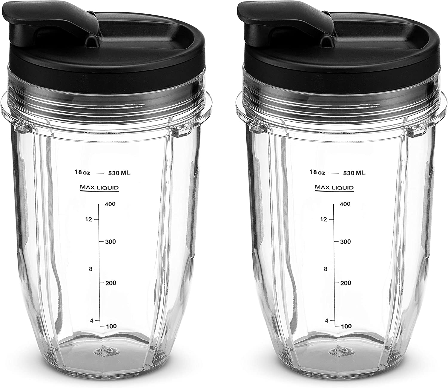 Nutri Ninja 18 oz Tritan Cups with Sip & Seal Lids. Compatible with BL480, BL490, BL640, BL680 Auto IQ Series Blenders (Pack of 2)
