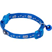 Petface Cat Collar with Safety Elastic and Bell, Blue