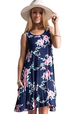 4edbd999ffa FASHIONOMICS Womens Boho Printed Sleeveless Short Mini Dress with Side  Pockets (S, 04NAVY)