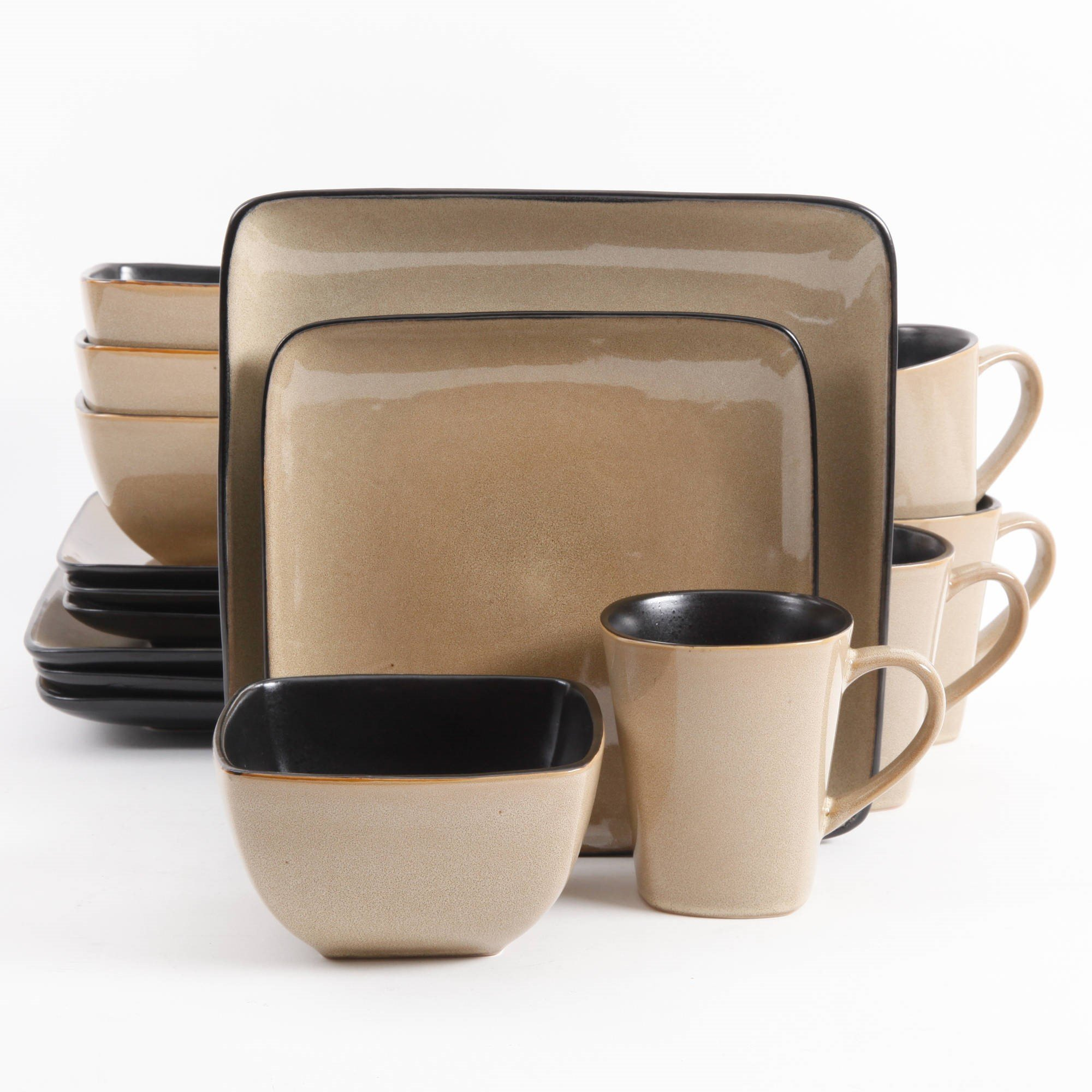 Gibson Everyday Rave Square 16-Piece Dinnerware Set, Taupe by Gibson