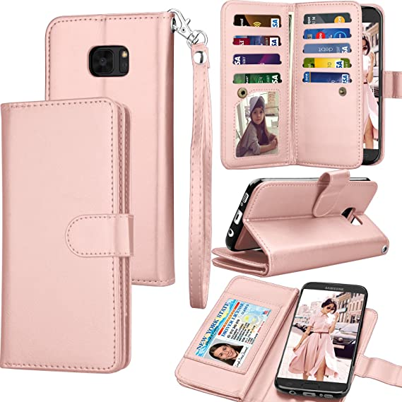 best service 84f1e b874f Tekcoo for Galaxy S7 Case/Galaxy S7 Wallet Case, Luxury ID Cash Credit Card  Slots Holder Purse Carrying PU Leather Folio Flip Cover [Detachable ...