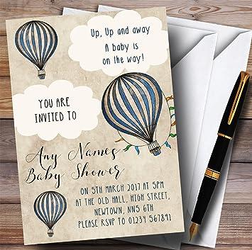 Amazon Com Boys Vintage Blue Hot Air Balloon Invitations Baby