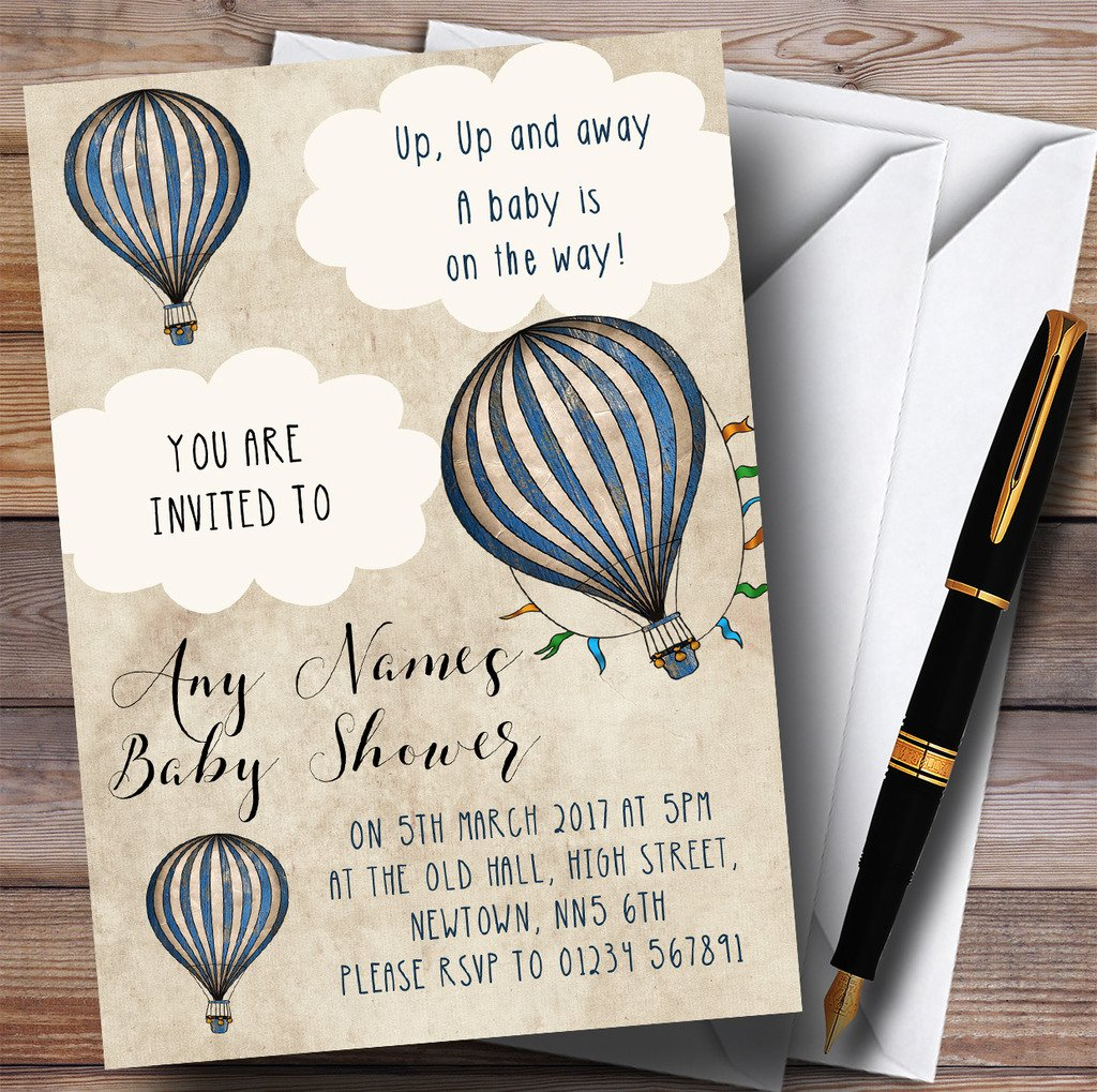 Boys Vintage Blue Hot Air Balloon Invitations Baby Shower Invitations