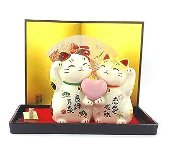 Maneki Neko - gato de la suerte japonés - amor (# 7351): Amazon.es: Hogar