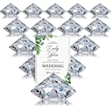 Boao 24 Pack Place Card Holders Harp-Clip Table Number Holder Diamond Acrylic Crystal Table Card Stands for Party Wedding Tab