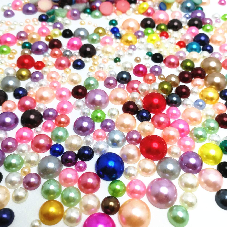 100 Mixed Colour Half Pearl Bead Flat Back 12mm Scrapbook FlatBack Cabachons
