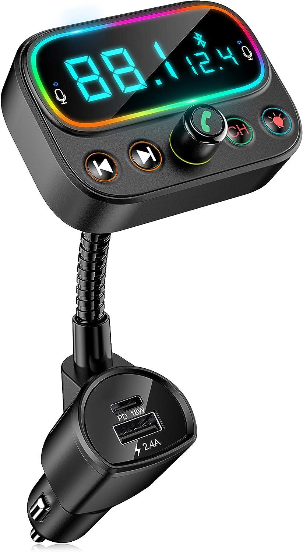 Bovon Transmisor Bluetooth Coche con Micrófono Dual, Transmisor FM Bluetooth Coche con un Botón Apagado, Pantalla LCD2.0/Puerta PD 18W/9 RGB LED Retroiluminado, Soporte para Disco U/Salida Auxiliar