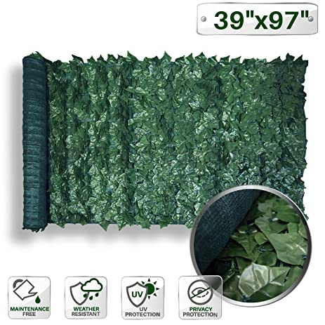 Patio Paradise 39u0026quot; X 97u0026quot; Faux Ivy Privacy Fence Screen With Mesh  Back